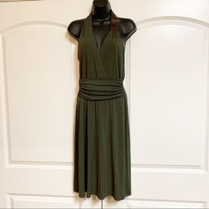 Laundry Olive Green Halter Leather Detail Dress 8